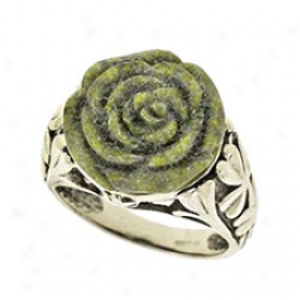 Connwmara Marble Carved Rose Ring Size 6-rose