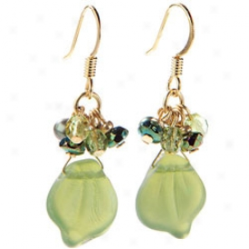 Glass Leaves Earrings