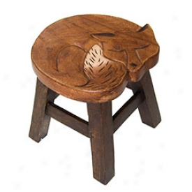 Hand Carvde Wood Fox Stool