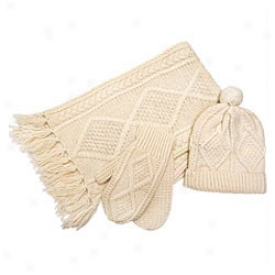 Irish Wool Hat, Scarf & Mitten Set Medium-ivory