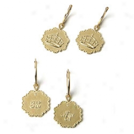 Keep Calm & Carry On Earrings Gold