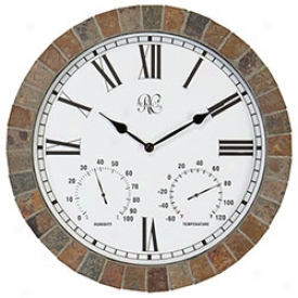 Slate Clock Upon Weather Sattion