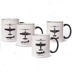 Wwii Airplane Spotter Mugs Set Of 4