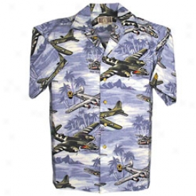 Wwii Bomber Plane Hawaiian Shirt Large-blue