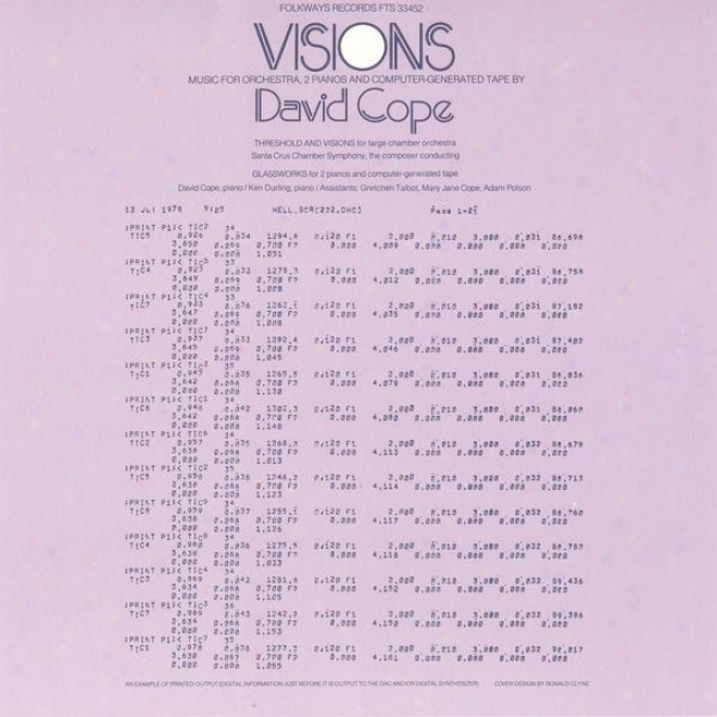 Visions - Music Fr Orchestra, 2 Pianos And Computer-generated Tape: By David Cope