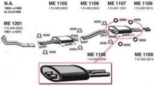 1963-1966 Mercedes Benz 230sl Muffler Ansa Mercedes Benz Muffler Me1107 63 64 65 66