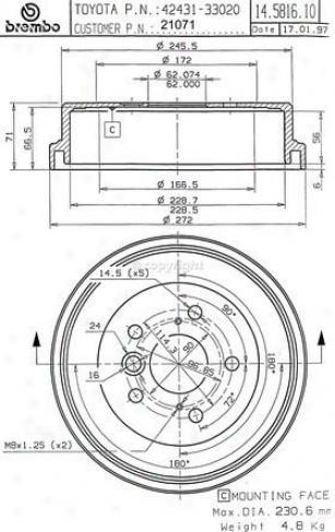 1992-1996 Toyota Camry Brake Drum Brembo Toyota Btake Drum 21071 92 93 94 95 96