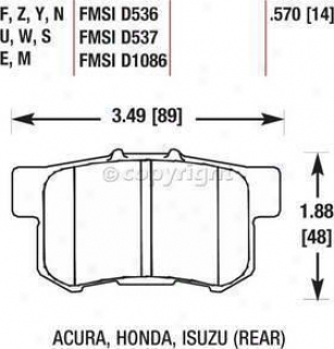 1997-2001 Acura Integra Brake Pad Set Hawk Acura Brake Pad Flow Hb145n.570 97 98 99 00 01