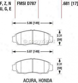 2001-2003 Acura Cl Brake Pad Set Hawk Acura Brake Pad Set Hb366f.681 01 02 03