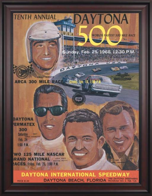 10ht Annual 1968 Daytona 500 Framed 36 X 48 Program Print