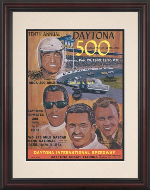 10th Annual 1968 Daytona 500 Framed 8.5  X 11 Program Print