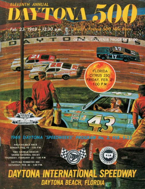 11th Annual 1969 Daytona 500 Canvas 36 X 48 Program Print