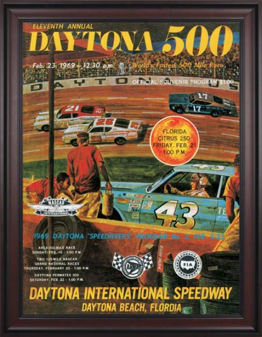 11th Annual 1969 Daytona 500 Framed 36 X 48 Program Print
