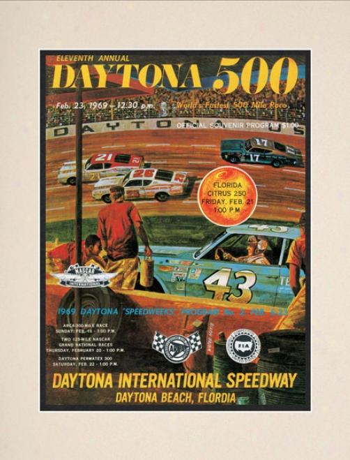 11th Annual 1969 Daytona 500 Matted 10.5 X 14 Program Print