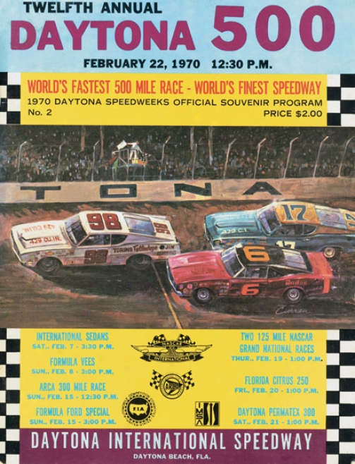 12th Annual 1970 Daytona 500 Canvvas 22 X 30 Program Print