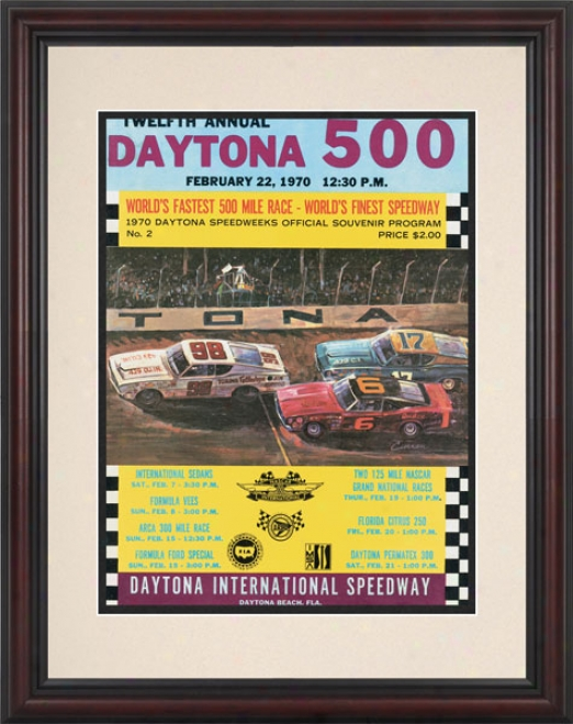 12th Annual 1970 Daytona 500 Framed 8.5  X 11 Program Print