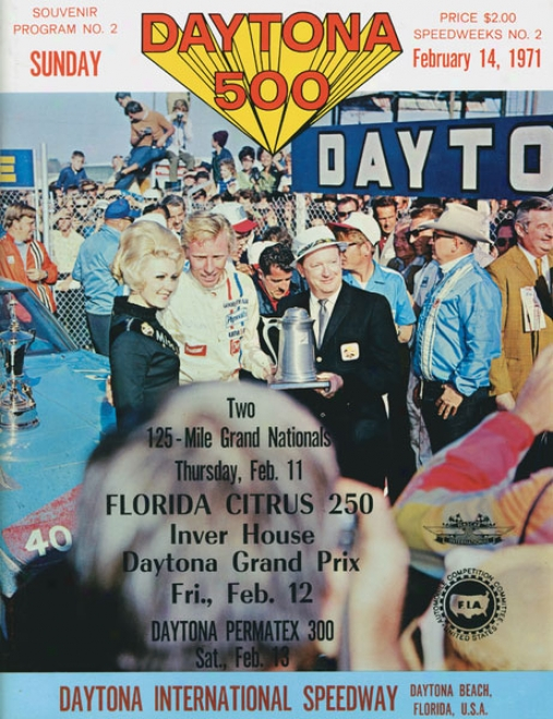 13th Annuap 1971 Daytona 500 Canvas 22 X 30 Program Print