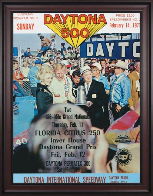 13th Annual 1971 Daytona 500 Framed 36 X 48 Program Print