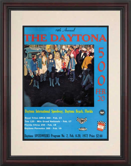14th Annual 1972 Daytona 500 Framed 8.5  X 11 Program Print