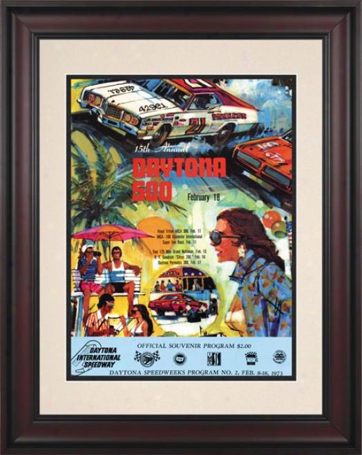 15th Annual 1973 Daytona 500 Framed 10.5 X 14 Program Print