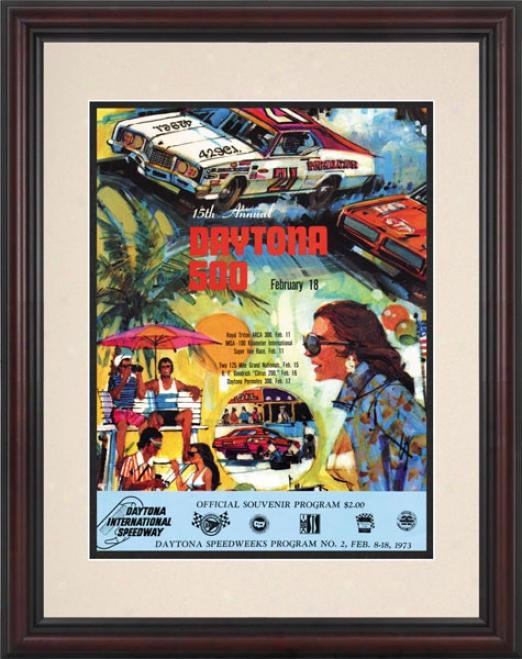 15th Annual 1973 Daytona 500 Framed 8.5  X 11 Program Print