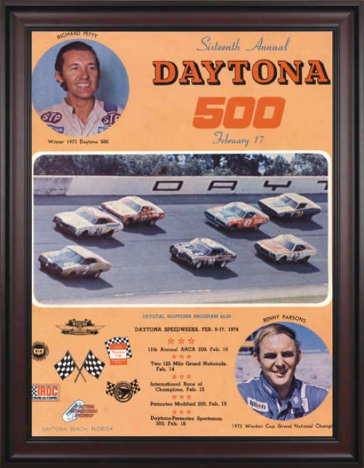 16th Annual 1974 Daytona 500 Framed 36 X 48 Program Print