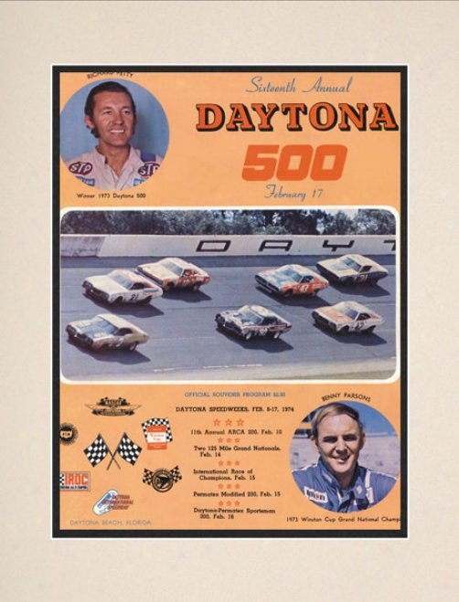 16th Annual 1974 Daytona 500 Matted 10.5 X 14 Program Print