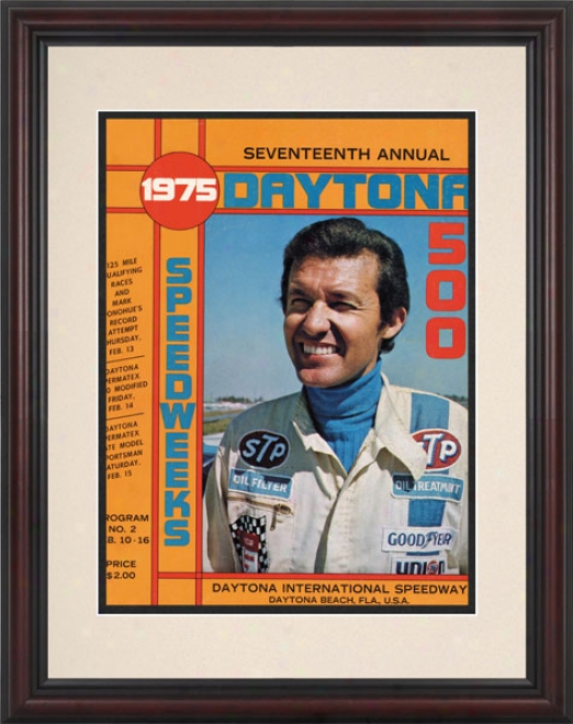 17th Annual 1975 Daytona 500 Framed 8.5  X 11 Program Print