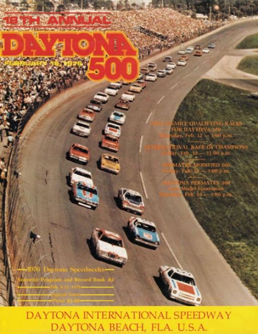 18th Annual 1976 Daytona 500 Canvas 36 X 48 Program Print