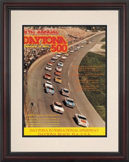 18th Annual 1976 Daytona 500 Framed 8.5  X 11 Program Print