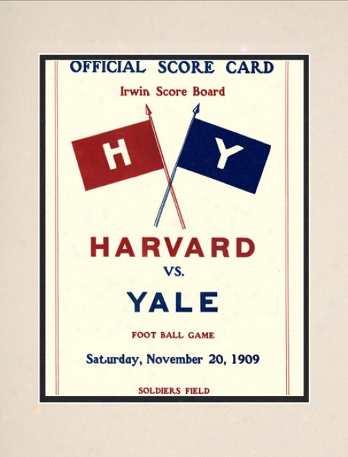 1909 Harvard Crimson Vs. Yale Bulldogs 10.5x14 Matted Histkric Foootball Print