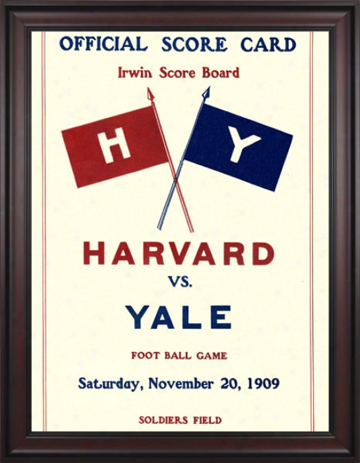 1909 Harvard Crimson Vs. Yale Bulldogs 36 X 48 Framed Canvas Historic Football Print