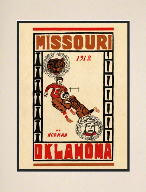 1912 Oklahoma Vs Missouri 10.5x14 Matted Historic Football Print