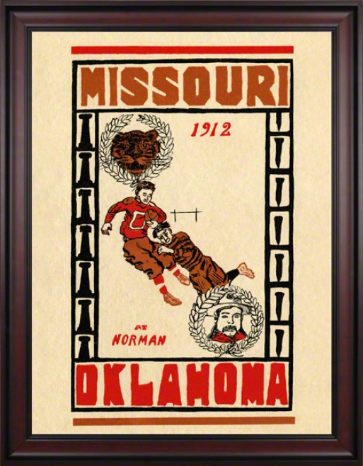 1912 Oklahoma Vs Missouri 36 X 48 Framed Canvas Hitoric Football Print