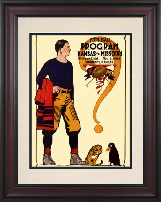 1914 Kansas Vs. Missouri 10.5x14 Framed Historic Football Print