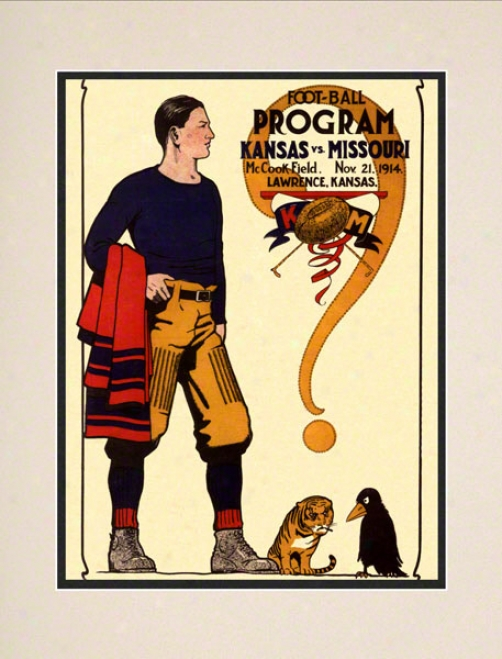1914 Kansas Vs. Missouri 10.5x14 Matted Historic Football Print