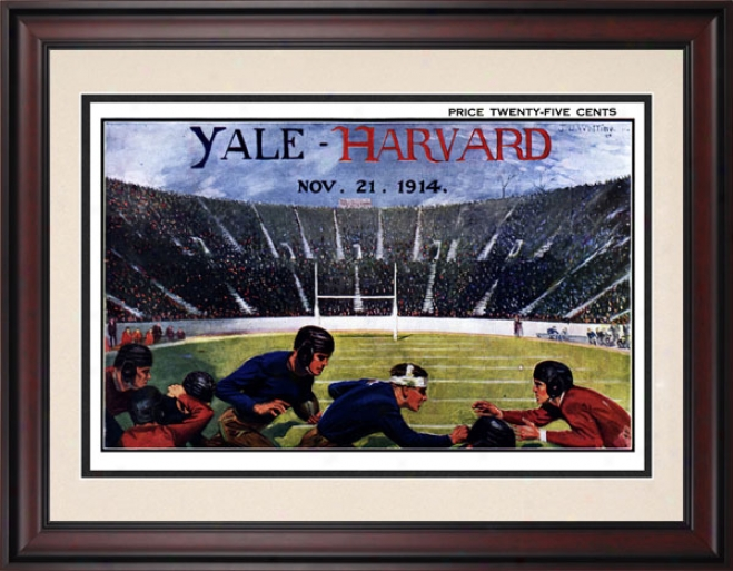 1914 Yale Bulldogs Vs. Harvard Crimson 10.5x14 Framed Historic Football Print