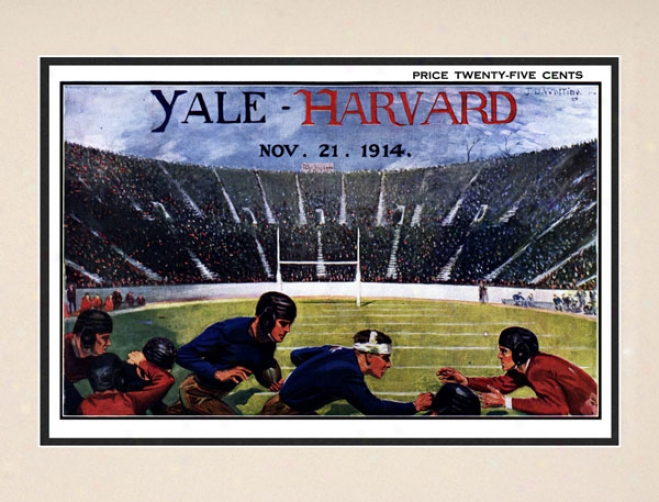 1914 Yale Bulldogs Vs. Harvard Crimson 10.5x14 Matted Historic Football Print