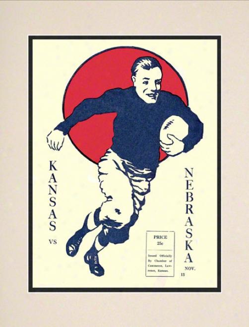 1920 Kansas Vs. Nebraska 10.5x14 Matted Historic Football Print