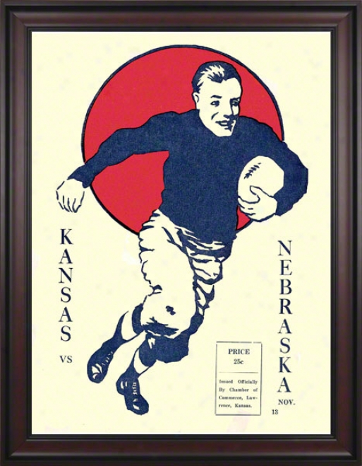 1920 Kansas Vs. Nebraska 36 X 48 Framed Canvas Historic Football Print