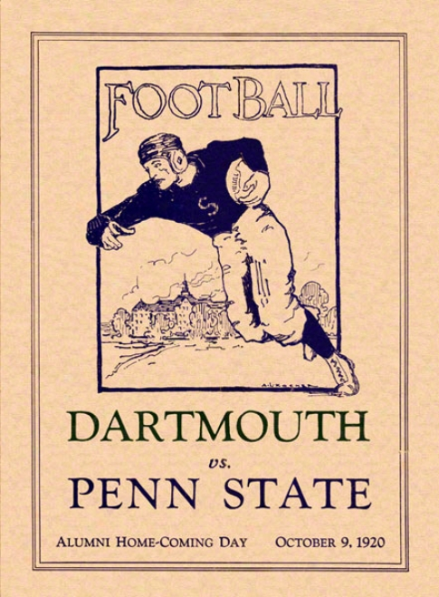 1920 Penn State Nittany Lions Vs Dartmouth Big Green 36 X 48 Canvas Historic Football Poster
