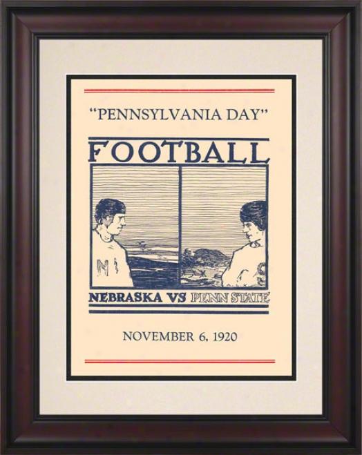 1920 Penn State Nittany Lions Vs Nebraska Cornhuskers 10 1/2 X 14 Framed Historic Football Poster