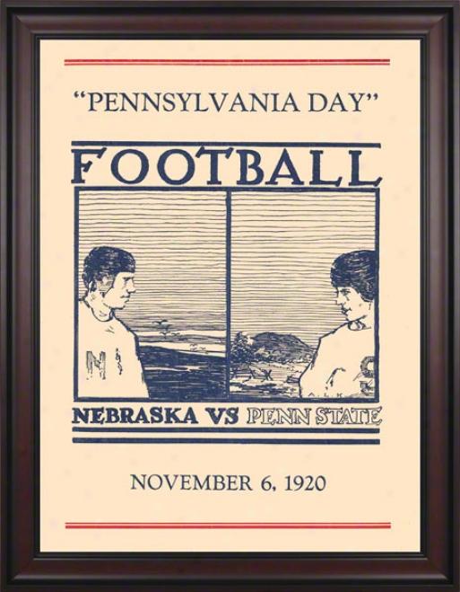 1920 Penn State Nittany Lions Vs Nebraska Cornhuskers 36 X 48 Framed Canvas Historci Football Poster