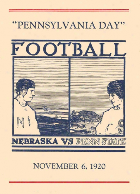 1920 Penn State Nittany Lions Vs Nebraska Cornhuskers 36 X 48 Canvas Historic Football Poster