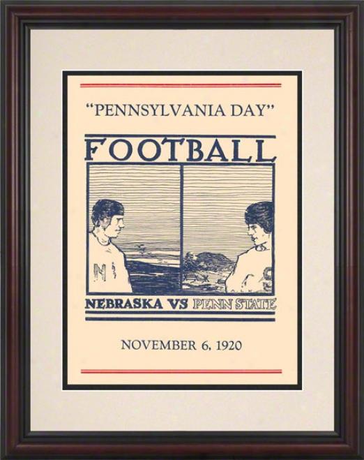 1920 Penn State Nittany Lions Vs Nebraska Cornhuskers 8.5 X 11 Framed Historic Football Poster