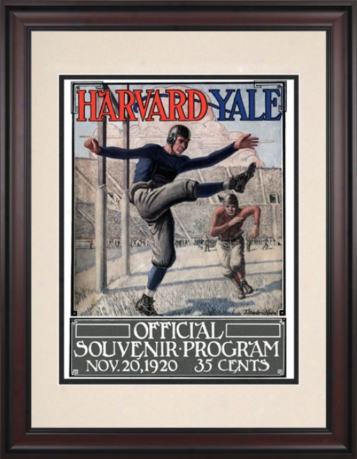 1920 Yale Bulldogs Vs. Harvard Crimson 10.5x14 Framed Historic Football Print