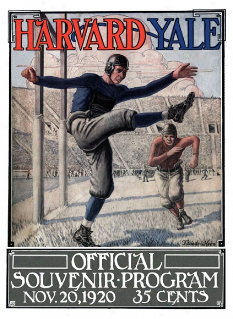 1920 Yale Bulldgs Vs. Harcard Crimson 22 X 30 Canvas Historic Football Print