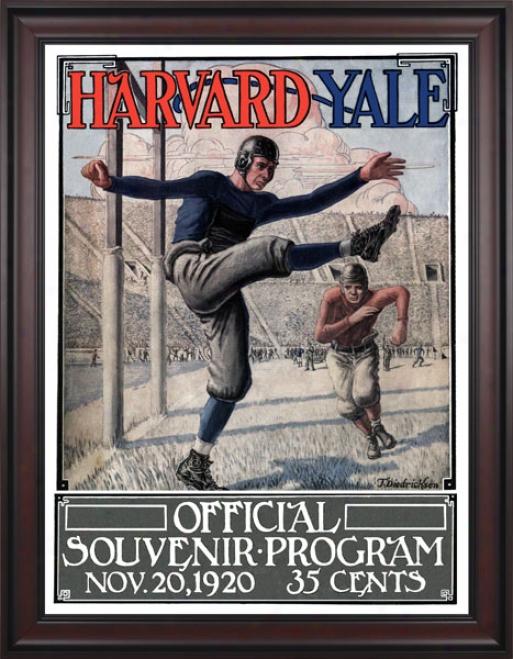 1920 Yale Bulldogs Vs. Harvard Crimson 36 X 48 Framed Canvas Historic Football Print