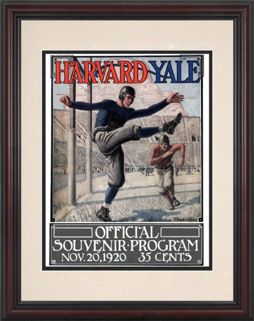 1920 Yale Bulldogs Vs. Harvard Crimson 8.5 X 11 Framed Historic Football Print