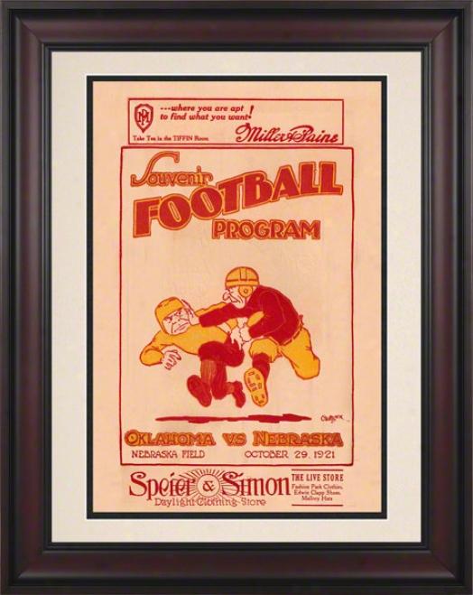1921 Nebraska Vs Oklahoma 10.5x14 Framed Historic Football Print